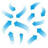 Blue arrows. Set of blue vector arrows Stock Images