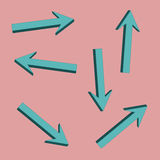 The blue arrows surround. Bulk blue arrows on a pink background in different directions Vector Illustration