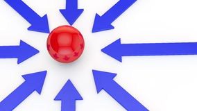 Blue arrows. On a white background point to the red sphere in the center of the image Stock Photos
