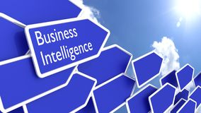 Blue arrows with the words business intelligence Stock Images