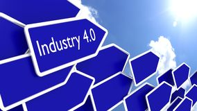 Blue arrows with the words industry 4.0 Stock Image