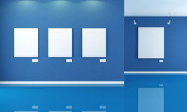 Blue art gallery Royalty Free Stock Images