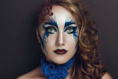 Blue art make up stock photos