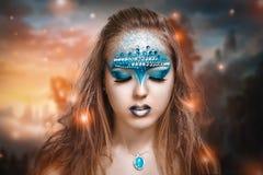 Blue art make up Royalty Free Stock Photo