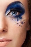 Blue art on stage fashion make up Stock Photography