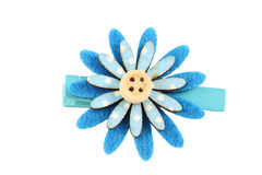 Blue of artificial flower hairpin isolated on white. Stock Image