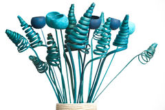 Blue artificial plants in flowerpot Stock Photography