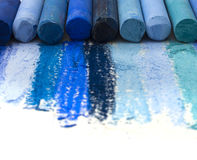 Blue artistic crayons Royalty Free Stock Images