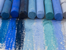 Blue artistic crayons Royalty Free Stock Photo