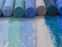 Blue artistic crayons Stock Photography