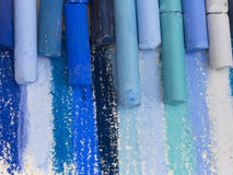Blue artistic crayons Royalty Free Stock Photography