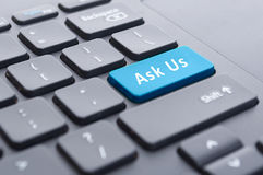 Blue ask us button on keyboard concept Stock Photos