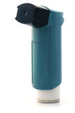 Blue asthma Inhaler. On white background Royalty Free Stock Image
