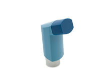 Blue asthma inhaler. On white background Stock Images
