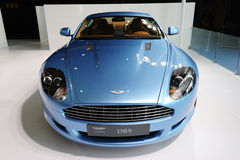 Blue Aston Martin DB9  front Stock Images