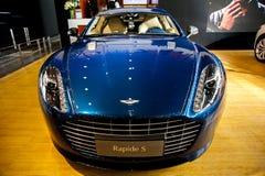 Blue ASTONMARTIN car royalty free stock photos