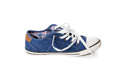 Blue athletic shoe Royalty Free Stock Photos