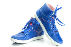 Blue athletic shoes Royalty Free Stock Photo
