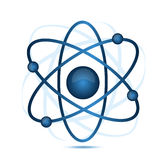 Blue atom. Illustration isolated over a white background Stock Photos