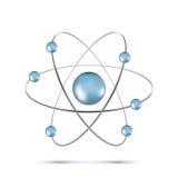 Blue atom molecule isolated on white background. Illustration of blue atom molecule isolated on white background Royalty Free Stock Image