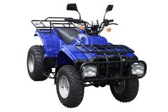 Blue ATV. Blue All Terrain Vehicle isolated on white background Stock Photo