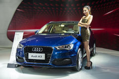 Blue audi a3 car Stock Photos