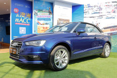 Blue audi convertible car. Blue audi  car in open-air show, xiamen city, china Stock Image