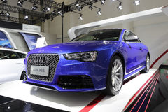Blue audi cs5. Audi cs5 show in amoy city, china Royalty Free Stock Images
