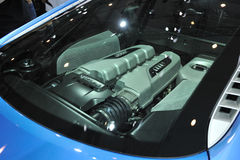 Blue audi r8 engine Royalty Free Stock Photo
