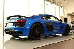 Blue Audi R8. Stunning blue sports car mag wheels. rear wing Stock Photos