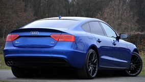 Blue Audi sports car Stock Photo