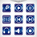 Blue audio icons set Stock Photos