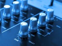 Blue audio mixer. Audio mixer console with blue tone Stock Image