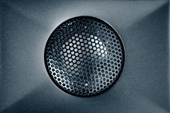 Blue audio tweeter with grill mesh. Closeup view Royalty Free Stock Photos