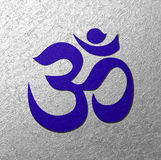 Blue Aum symbol silver background. Blue Om sign on a silver textured background.  Illustration of Aum reiki symbol. Brings peace, health and love in our lives Royalty Free Stock Photos