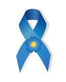 Blue awareness  ribbon and flower forget-me Stock Images