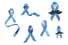 Blue awareness ribbons set. Blue awareness ribbons collection with and without mustache Stock Image