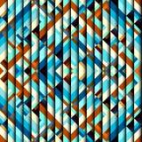 Blue aztecs pattern. Seamless geometric abstract pattern in aztecs style on stripes background Stock Photos