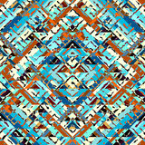 Blue aztecs pattern. Seamless geometric abstract pattern in aztecs style on stripes background Stock Image