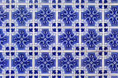 Blue azulejos - tiles from Lisbon Royalty Free Stock Photography