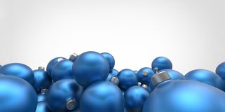 Blue azure 3D christmas balls tree globes  on white background Stock Image