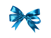 Blue (azure) fabric ribbon and bow isolated on a white background Royalty Free Stock Photography