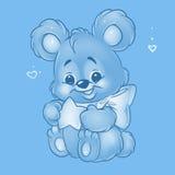 Blue baby bear star illustration Royalty Free Stock Image