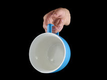 Blue - baby blue color cup - mug on black background. Stock Photography