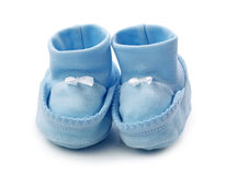Blue baby booties Stock Image