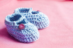 Blue baby booties Royalty Free Stock Photography