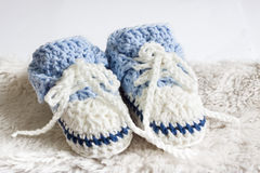 Blue baby booties Royalty Free Stock Image