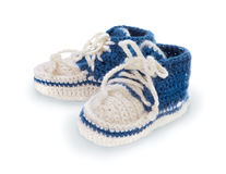 Blue baby booties Royalty Free Stock Photo