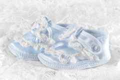 Blue baby booties Royalty Free Stock Photos