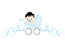 Blue Baby Boy. Illustration of baby boy and florical-design-elements in the background vector illustration